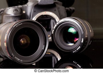 Photo lenses and dsl camera - Group of photo lenses and dslr...