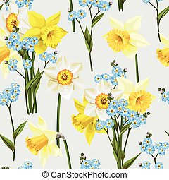Forget me not and daffodil seamless - Beautiful forget me...