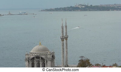Ortakoy Mosque and istanbul scene. - Ortakoy mosque has a...
