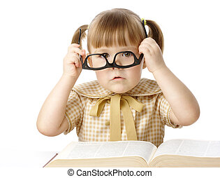 Cute little girl with book wearing black glasses