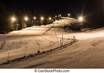 Night skiing on a clear night