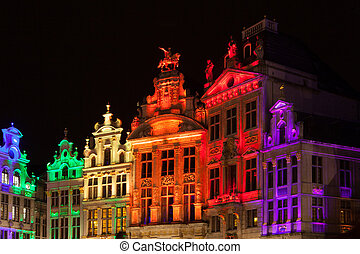 Grote Markt - The main square and Town hall of Brussels,...
