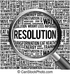 RESOLUTION word cloud with magnifying glass, health concept