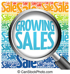 Growing Sales word cloud with magnifying glass, business...