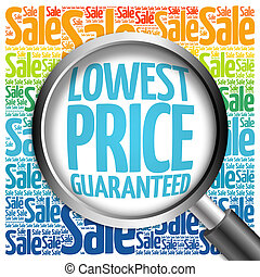 Lowest Price Guaranteed sale word cloud with magnifying...