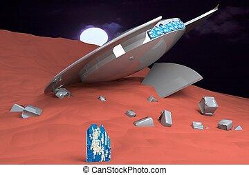 Ufo crashed over sandy planet
