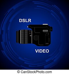 DSLR Video Camera - The camera on the bright background DSLR...