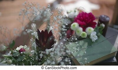 Beautiful spring bouquets of flowers closeup