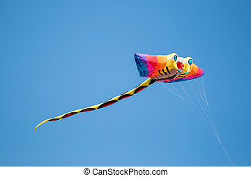 Kite - Big Flying Rainbow ray fish Kite on blue back ground