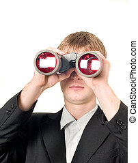 Businessman with binoculars searching for something