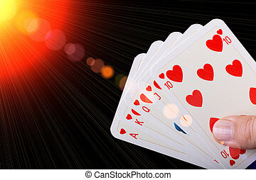 Royal flush of hearts - Poker hand of Royal flush of hearts...