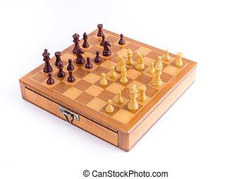 ajedrez, tabla, con, Piezas de ajedrez,