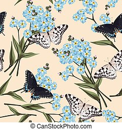 Seamless forget me not - Vintage forget me not flowers and...