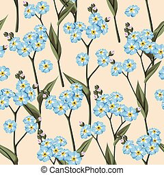 Seamless forget me not - Vintage forget me not flowers...