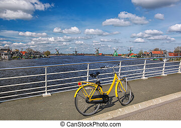 Bicycle on the bridge in Amsterdam area, Holland