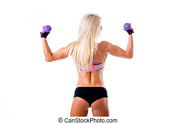 picture of young sporty woman showing her biceps. Isolated