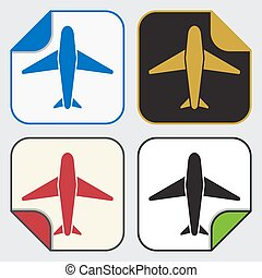 four square sticky icons - airplane - set of four colored...