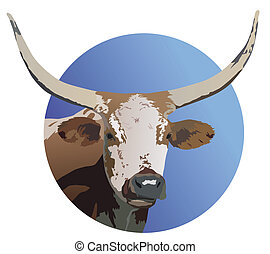 Longhorm Steer - Illustration of Longhorn steer within a...