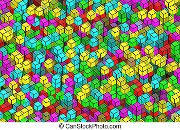 building structure from cubes. Abstract architecture...