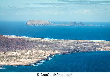 View of Graciosa Island from Mirador del Rio, Lanzarote...