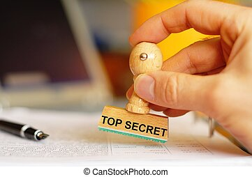 top secret stamp in intelligence office showing anti spy...