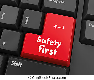 safety first concept with red key on computer keyboard
