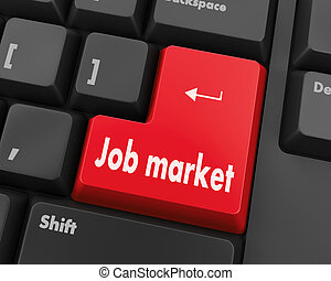job market - Job market key on the computer keyboard