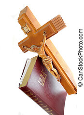 Holy Bibile with Cross - Holy Bible with a red leather cover...
