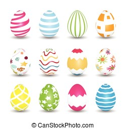 Easter Eggs. Collection of colorful eggs. Vector...