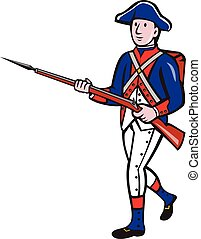 American Revolutionary Soldier Marching Cartoon -...