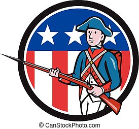 American Revolutionary Soldier USA Flag Circle Cartoon -...