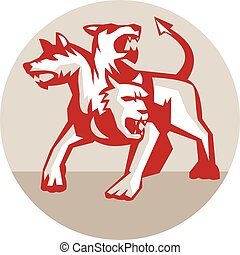 Cerberus Multi-headed Dog Hellhound Circle Retro -...