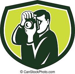 Photographer Shooting DSLR Camera Crest Retro