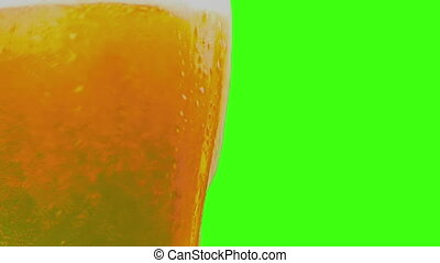 pouring fresh beer with foam into glass on chroma key, green...