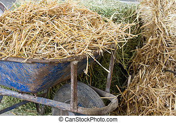 Barrow with straw - Close up of old wheelbarrow with dry...