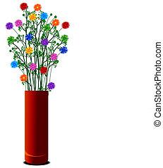 vaso, colorito, fiori