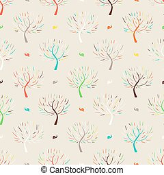 Pattern with colorful trees - Simple elegant hand drawn...