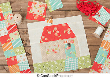 Quilted House Sewing And Quilting Accessories Fabric Patches...