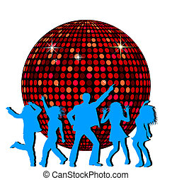 Disco Ball and dancing People