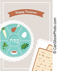 Passover dinner, seder pesach table with passover plate and...