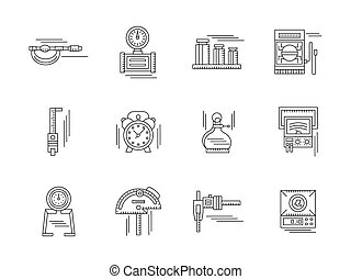 Metrology linear vector icons set - Measurement tools...