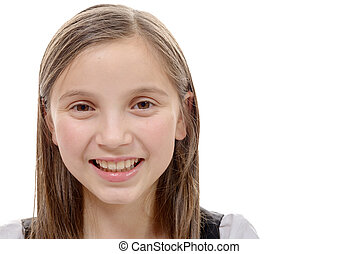 portrait of preteen girl isolated on a white background