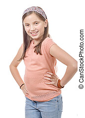 Adorable preteen girl isolated on white background - a...
