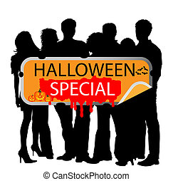 Young People with marketing sign - halloween special