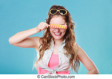 Summer woman eating popsicle ice pop cream - Summer holidays...