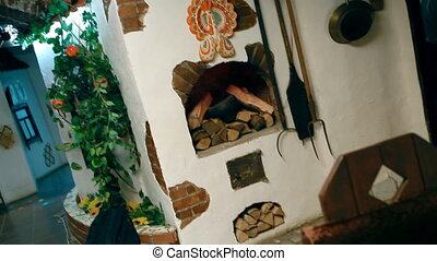 A ukrainian corner with national cuisine - A table stands...