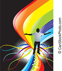 abstract rainbow wave background with standing pose of young...