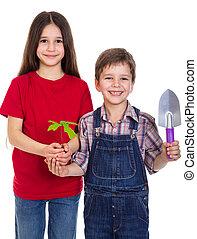 Kids with oak sapling in hands