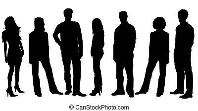 jovem, pessoas, silhuetas