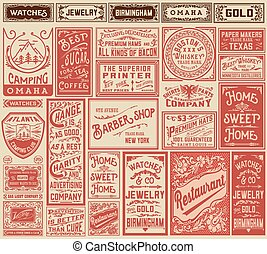 Mega pack retro advertisement designs and labels - Vector...